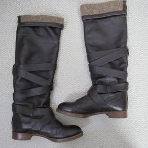 Chloe Boots Womens 38 Brown Leather Sweater Trim